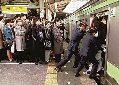 Overcrowded train in Tokyo