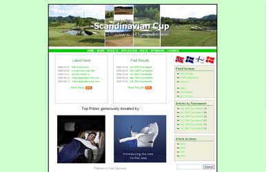 Screenshot of Scandinavian Cup Homepage